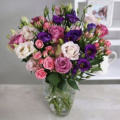 Rose and Lisianthus Bouquet With Free Express Delivery - From Lakeland Valentine Treats, Valentines, Lisianthus Bouquet, Rose Thorns, Moving To Colorado, Flower Delivery, Pastel Pink, Pretty Flowers, Spring Time