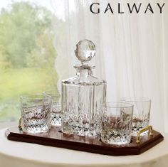 Personalised Galway Irish Crystal Longford Whiskey Decanter & 4 Glasses Tray Set