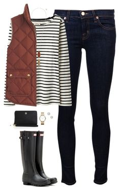 """Rust & stripes"" by steffiestaffie ❤ liked on Polyvore featuring J Brand, Joules, J.Crew, Hunter, Kendra Scott, Givenchy, Marc by Marc Jacobs and Tory Burch"