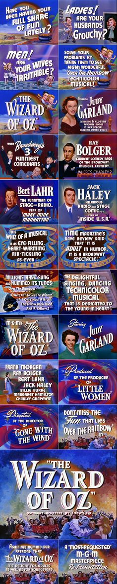 10/01/14  10:53a   MGM ''The Wizard of Oz'' Trailer Typography  Credits  Are Now  Rolling 1939  annyas.com