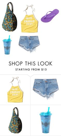 """""""Untitled #149"""" by samsgirl2014 ❤ liked on Polyvore featuring Hollister Co., OneTeaspoon, Kavu, Disney and Havaianas"""