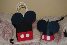 Mickey made from black posterboard, red posterboard and white circle stickers