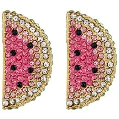 Betsey Johnson Ocean Drive Pink Watermelon Button Earrings ($40) ❤ liked on Polyvore featuring jewelry, earrings, accessories, multi colored earrings, post earrings, multi color stud earrings, betsey johnson jewelry and betsey johnson