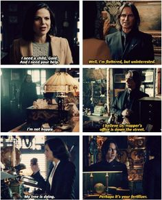 Hahaha Regina always always goes to Mr. Gold's shop to complain when the curse isn't going as planned.