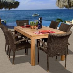 Brussels Teak Dining Set - Seats 6 - Patio Dining Sets at Hayneedle