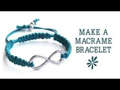 Hemp Bracelet tutorial with sliding clasp - Turquoise & Crystal Cube Macarme Bracelet - YouTube