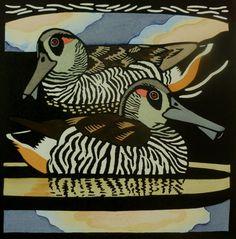 Pink-eared Duck / Tasmanian Birds - linocut - Kit Hiller 22/6/15