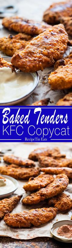This the BEST oven baked fried chicken and it tastes just like KFC! Crunchy, easy, all the flavour of KFC with a fraction of the calories! Homemade Kfc Recipe, Recipe Tin, Recipe Spice, Oven Fried Chicken Tenders, Baked Chicken, Oven Chicken, Turkey Recipes, Chicken Recipes, Recipetin Eats
