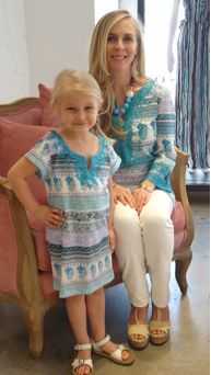 Matching mother and daughter tunics for Mother's Day.