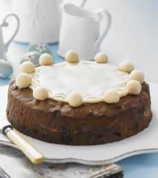 Chocolate Simnel Cake - Try our twist to the traditional Simnel cake. This is a light fruit cake, similar to a Christmas cake, covered in marzipan, and eaten during the Easter period in the United Kingdom and Ireland.