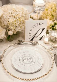 Elegant menu with clear beaded wedding charger