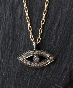 Pavé Diamond Evil Eye Necklace as seen in ACCESSORIES by LexLuxe, $176.00