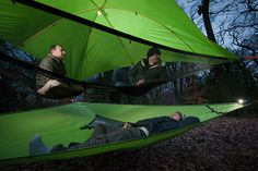 "The Tentsile Vista is a 3 person tree tent or ""portable treehouse"" that offers users a uniquely communal and comfortable outdoor experience. Tree Camping, Camping With Kids, Camping Ideas, Suzy, Suspended Tent, Tree Tent, Camping Shelters, Waterproof Tent, Rain Fly"