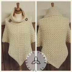 Ravelry: Child to Adult Cowl Neck Poncho pattern by Christine Kasprzak; 900 yds of aran wt yarn and $4.99 for pattern.