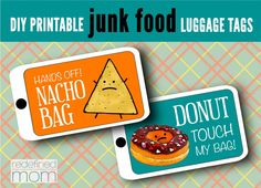 Mr. Nacho and Mr. Taco to the rescue! Make sure no one takes your black luggage again with these DIY Printable Junk Food Luggage Tags.
