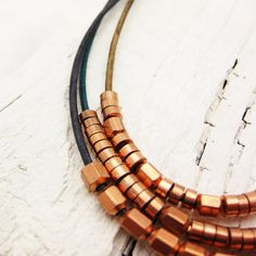 Copper & Leather Bohemian Statement Necklace / Multiple by byjodi, $65.00