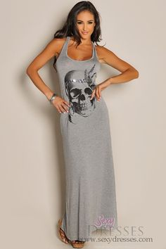 Sleeveless Grey Native Skull Maxi Dress This is the frikin cutest dress ever!!!