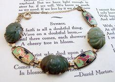 Art Deco Jade Enamel Bracelet Chinese Dragons 12k Gold Fill