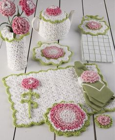 Picture of Carnation Kitchen Set Crochet Pattern