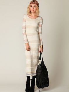 Free People Pieced Lace Long Sleeve Maxi