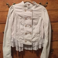 Free People jacket, size 6, EOC This jacket is beautiful and in excellent condition, size 6, by Free People! Has stretchy fabric on the sleeves and sides. Ask questions, if any?! Free People Jackets & Coats