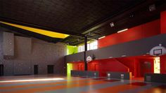 Youth Center and Sports Complex Saint-Cloud – KOZ Architects School Architecture, Architecture Design, Minimal Architecture, Indoor Climbing Wall, Rock Climbing, Saint Cloud, Youth Center, Gym Center, Sports Complex