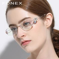 f19ee9b7fa B Pure Titanium Glasses Frame Women Ultralight Luxury High Quality Diamond  Trim Rimless Prescription Optical Eyeglasses
