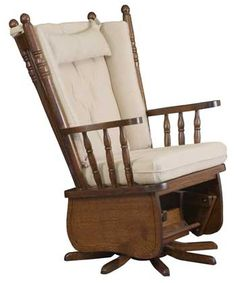 33% Off 4 Poster High Back Swivel Glider in Oak | Solid Wood Amish Furniture