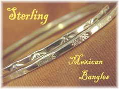 "Sterling Silver - Mexican Silversmith 8 1/2"" Bangle Stack Bracelets - Set of 2 - Stamped Design Mexico - The Perfect Gift - FREE SHIPPING by FindMeTreasures on Etsy"