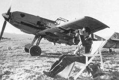 A Messerschmitt Bf-109 and her pilot at the ready