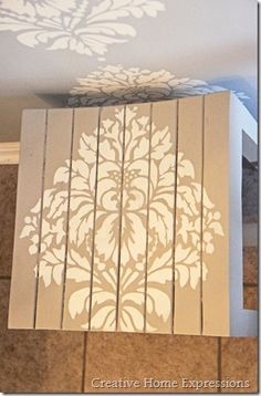 bench stenciled with damask stencil from @Cutting Edge Stencils