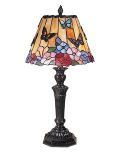 """Butterfly / Peony Tiffany 24"""" H Table Lamp with Empire Shade"""