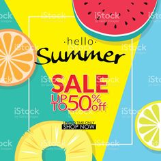 summer sale discount 50 percent off template banner with pieces of tropical fruit on colorful background. vector summer sale background for banner, poster, flyer, card, postcard, cover, brochure royalty-free summer sale discount 50 percent off template banner with pieces of tropical fruit on colorful background vector summer sale background for banner poster flyer card postcard cover brochure stock vector art & more images of bright