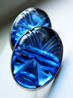 Blue Glass Sterling Silver Earrings - Vintage Mexico