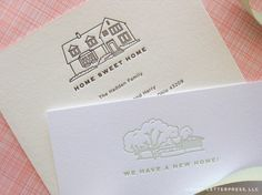 between graduation announcements, custom business cards, baby announcements and moving announcements, we've been quite busy in our little studio. above are house sketch moving announcements we rece. House Sketch, House Drawing, Moving Announcements, Graduation Announcements, Envelope Lettering, Diy Fashion Accessories, Custom Business Cards, Card Sketches, Ink Color