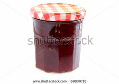 Sold! Stock photo available for sale at Shutterstock: Food - Canned food - Jar with cherry jam isolated on white background. - stock photo
