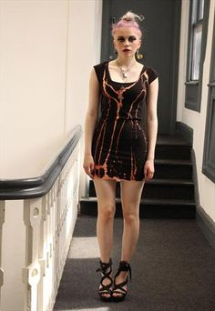 Black gold drips tie dye alternative punk grunge dress from Pretty Disturbia £12