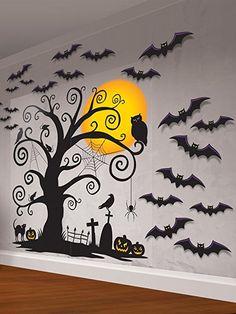 XXL-Wanddeko * GRUSELIGER BAUM * für Halloween // mit 2 Scene Settern und 30 Fledermäusen // Friedhof Wand Dekoration Deko Grusel