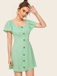 Frock For Teens, Simple White Dress, Shirred Dress, Mexican Dresses, Button Front Dress, Belted Shirt Dress, Latest Dress, Jumpsuits For Women, Look Fashion