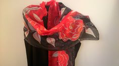 Red, Black and White Hand Painted Silk Scarf for Ladies. Rouge et Noir, Wax Batik Scarf Handmade. 16x61 in. Designer Scarf by SilkLetters on Etsy https://www.etsy.com/au/listing/205441587/red-black-and-white-hand-painted-silk