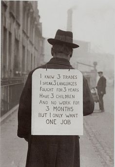 Job hunting in the 1930s during the Great Depression.