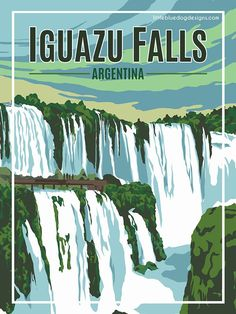 Iguazu Falls Argentina – Vintage Travel Poster - New Site Poster Art, Argentine, Argentina Travel, South America Travel, Vintage Travel Posters, Vintage Ski, Vintage Room, Vintage Music, Travel Wall