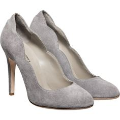 Philosophy di Alberta Ferretti High Heels Suede Pumps found on Polyvore ~ soft grey with scalloped trims