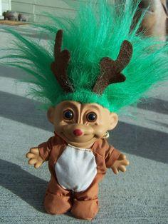troll dolls | Russ Troll ,Vintage Doll Christmas Reindeer Costumed Troll Doll 1990