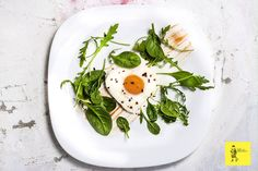 Valentine #egg with fresh baby #spinach leaves. Quick, easy and thoughtful.