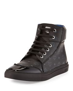 Leather High-Top Sneaker, Black by MCM at Neiman Marcus.