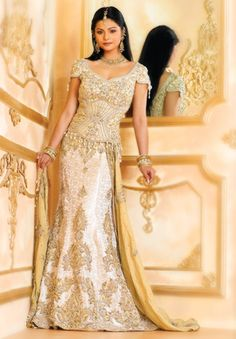 white with gold embroidery.