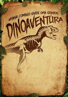 Convite Pergaminho Dinossauro 3 totalmente grátis, pronto para personalizar e imprimir em casa.