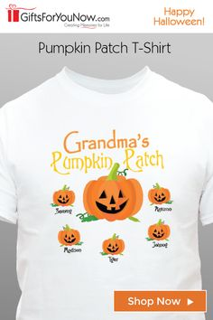"Take your little one's trick-or-treating in style with this unique personalized ""Pumpkin Patch"" Halloween T-Shirt. Clever Halloween Costumes, Adult Halloween, Halloween Dress, Halloween Cards, Fall Halloween, Halloween Decorations, Diy Halloween Shirts, Fall Shirts, Vinyl Shirts"