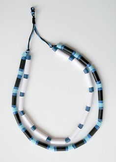 Double paper necklace with cardstock beads two shades of blue, black & white This necklace is part of what I called initially, not very romantically,